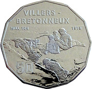 50 Cents - Elizabeth II (4th Portrait - Villers-Bretonneux) -  reverse