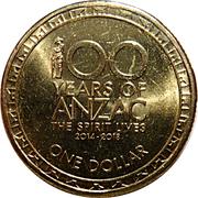 1 Dollar - Elizabeth II (4th Portrait - 100 Years of ANZAC) -  reverse