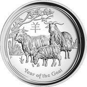 "1 Dollar - Elizabeth II (""Year of the Goat"" High Relief Proof) -  reverse"