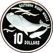 10 Dollars - Elizabeth II (3rd Portrait - Southern Right Whale - Frosted Proof) -  reverse