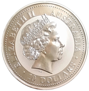 10 Dollars - Elizabeth II (4th Portrait - Year of the Dragon - Silver Bullion Coin) -  obverse
