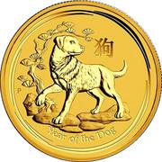 25 Dollars - Elizabeth II (4th Portrait - Year of the Dog - Gold Bullion Coin) -  reverse