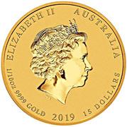 15 Dollars - Elizabeth II (4th Portrait - Year of the Pig - Gold Bullion Coin) -  obverse