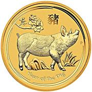 15 Dollars - Elizabeth II (4th Portrait - Year of the Pig - Gold Bullion Coin) -  reverse