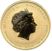 15 Dollars - Elizabeth II (4th Portrait - Year of the Goat - Gold Bullion Coin) -  obverse