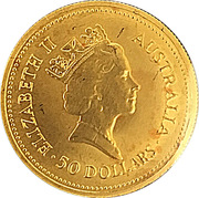 50 Dollars - Elizabeth II (3rd Portrait - Australian Nugget - Gold Bullion Coin) -  obverse