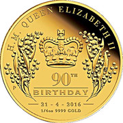 25 Dollars - Elizabeth II (4th Portrait - 90th Birthday - Gold Bullion Coin) -  reverse