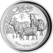 "30 Dollars - Elizabeth II (""Lunar Year Series - Year of the Goat"" Silver Bullion Coinage) – reverse"