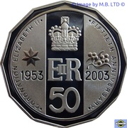50 Cents - Elizabeth II (4th Portrait - Coronation Jubilee - Silver Proof) – reverse