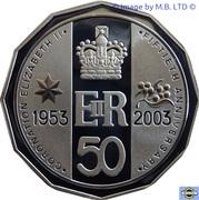 50 Cents - Elizabeth II (4th Portrait - Coronation Jubilee - Silver Proof) – reverse