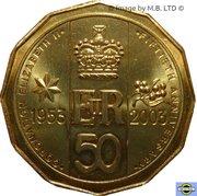 50 Cents - Elizabeth II (4th Portrait - Coronation Jubilee) -  reverse