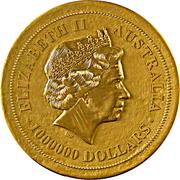 """1 000 000 Dollars - Elizabeth II (""""Kangaroo"""" Gold Bullion Coinage) -  obverse"""