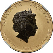 100 Dollars - Elizabeth II (4th Portrait - Year of the Rabbit - Gold Bullion Coin) -  obverse
