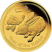 100 Dollars - Elizabeth II (4th Portrait - Year of the Rabbit - Gold Bullion Coin) -  reverse