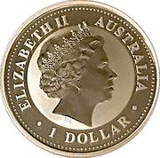 1 Dollar - Elizabeth II (4th Portrait - Australian Kookaburra - Gilded) -  obverse