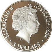 5 Dollars - Queen Elizabeth II (Bicentenary of Tasmania; Silver Proof) -  obverse