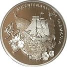 5 Dollars - Elizabeth II (4th Portrait - Bicentenary of Tasmania; Silver Proof) – reverse