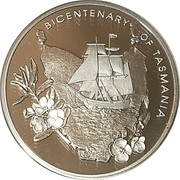 5 Dollars - Queen Elizabeth II (Bicentenary of Tasmania; Silver Proof) -  reverse
