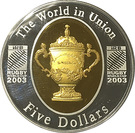 5 Dollars - Queen Elizabeth II (Rugby World Cup Gold Plated Silver Proof) – reverse