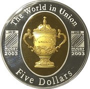 5 Dollars - Queen Elizabeth II (Rugby World Cup Gold Plated Silver Proof) -  reverse