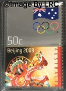 50 Cents - Elizabeth II (4th Portrait - Olympic Games Beijing - Stamp Shaped) -  reverse