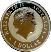 1 Dollar - Elizabeth II (4th Portrait - Australian Kangaroo; Gilded Edition) – obverse