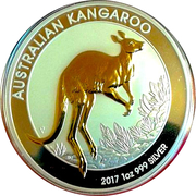 1 Dollar - Elizabeth II (4th Portrait - Australian Kangaroo; Gilded Edition) -  reverse