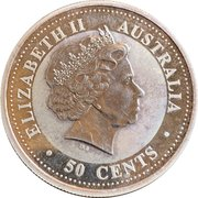 50 Cents - Elizabeth II (4th Portrait - Year of the Goat - Silver Bullion Coin) -  obverse