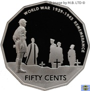 50 Cents - Elizabeth II (4th Portrait - Remembrance - End of World War II - Silver Proof) -  reverse