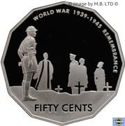 50 Cents - Elizabeth II (4th Portrait - Remembrance - End of World War II - Silver Proof) -  reverse