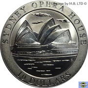 10 Dollars Elizabeth II (3rd Portrait - Sydney Opera House) – reverse