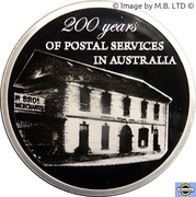 5 Dollars - Elizabeth II (4th Portrait - 200 Years of Postal Services in Australia - Silver Proof) -  reverse