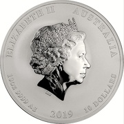 10 Dollars - Elizabeth II (4th Portrait - Year of the Pig - Silver Bullion Coin) -  obverse