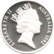 5 Dollars - Elizabeth II (3rd Portrait - International Year of Space - Silver Proof) -  obverse