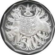 50 Cents - Elizabeth II (2nd portrait - Dodecagonal type - Silver Proof) -  reverse