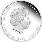 """8 Dollars - Elizabeth II (4th Portrait - """"Lunar Year Series II"""" Silver Bullion Coinage) -  obverse"""