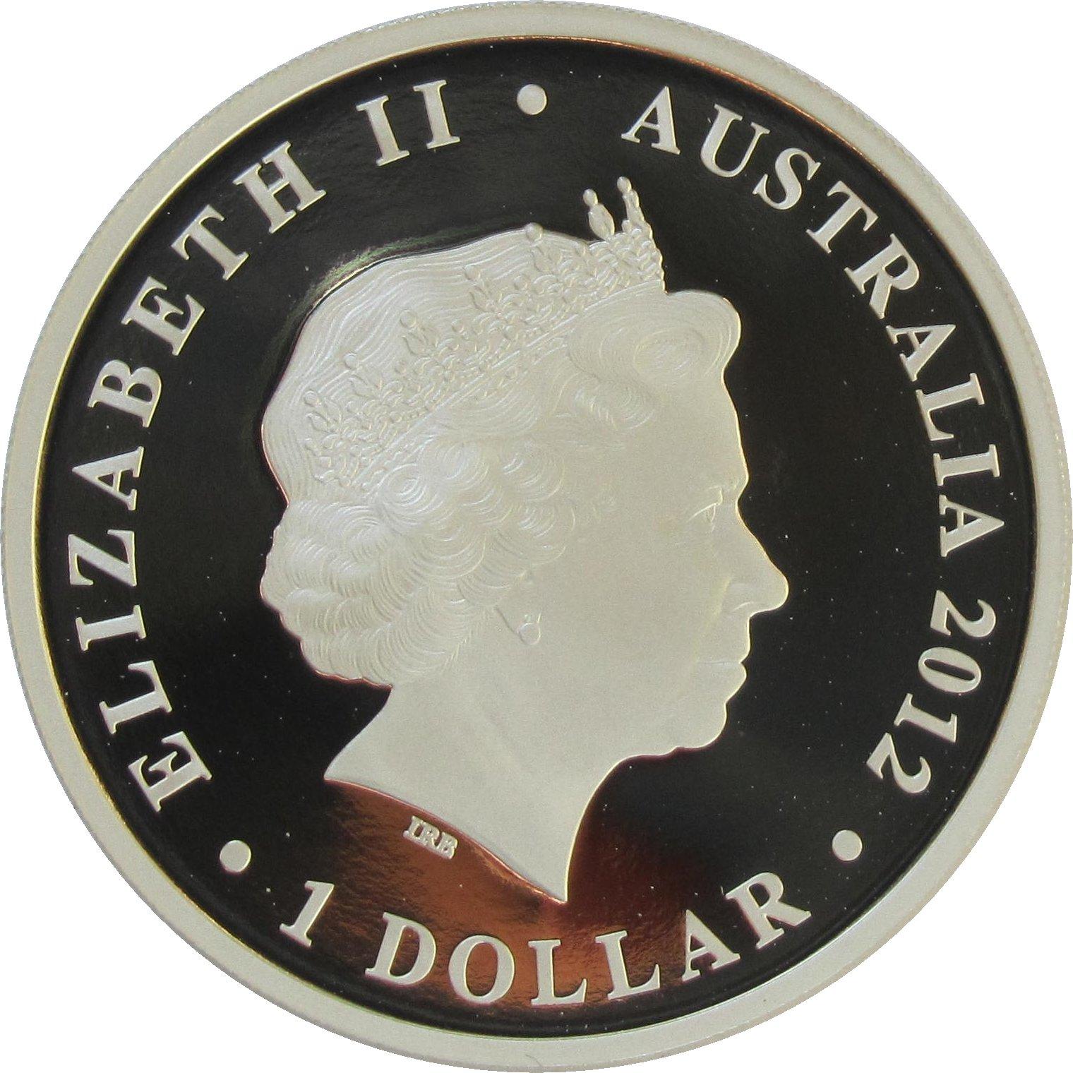 Australia 2012 Year of Dragon $1 1 Ounce Pure Silver Dollar Specimen Bullion