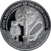 1 Dollar - Elizabeth II (4th Portrait - Moon Landing ) -  reverse
