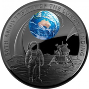 5 Dollars - Elizabeth II (4th Portrait - Moon Landing 50th Anniversary - Silver Domed) -  reverse