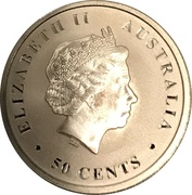 50 Cents - Elizabeth II (4th Portrait - Australian Saltwater Crocodile - Bullion Coin) – obverse