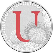 1 Dollar - Elizabeth II (4th Portrait - Alphabet Collection - Letter U - Silver Proof) -  reverse
