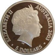 5 Dollars - Elizabeth II (4th Portrait -Finale - Australia's Volunteers) -  obverse