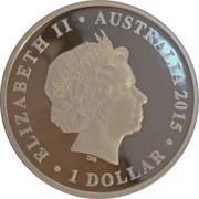 1 Dollar - Elizabeth II (4th Portrait - Dinosaur - Muttaburrasaurus) -  obverse