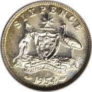 """6 Pence - Elizabeth II (without """"F:D:"""") – reverse"""