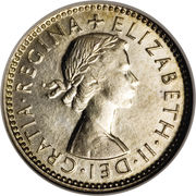 "6 Pence - Elizabeth II (without ""F:D:"") -  obverse"