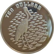10 Dollars - Elizabeth II (Birds of Australia Series - Jabiru; Piedfort) -  reverse