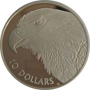 10 Dollars - Elizabeth II (Wedge Tailed Eagle Piedfort) -  reverse