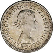 "6 Pence - Elizabeth II (with ""F:D:"") -  obverse"