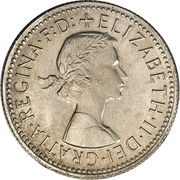 "1 Shilling - Elizabeth II (with ""F:D:"") -  obverse"