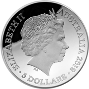 5 Dollars - Elizabeth II (4th Portrait - 1812 A New Map of the World: Captain Cook's Tracks - Silver Domed) -  obverse